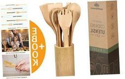 Wooden Bamboo Cooking Utensils Set - 8pcs Wood Kitchen Utens