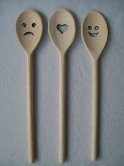 Wooden Spoon Cooking Kitchen Utensil Laser Cut Heart Smiley