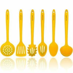Yellow Silicone Cooking Utensils Set – Sturdy Steel Inner